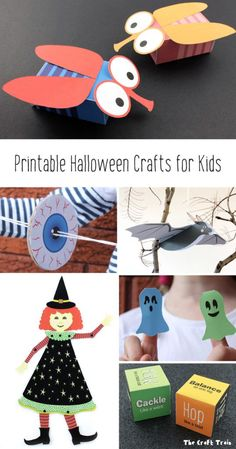11 fun printable Halloween crafts for kids – a new ebook from The Craft Train. You can find blowfly gift boxes, ghostly finger puppets, a movable paper witch doll, eyeball spinners and more