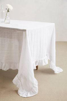 Anthropologie White Linen Tablecloth
