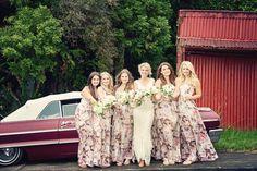 Floral bridesmaid dresses lace wedding dress