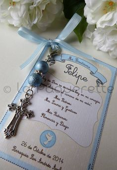 Baptism and First Communion favors - Favor card with religious key-ring Baptism Party Decorations, Communion Decorations, First Communion Favors, First Holy Communion, Baptism Favors, Baptism Ideas, Dedication Ideas, Baby Boy Baptism, Cars Birthday Parties