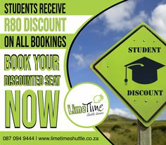 We offer full-time South African students R80 discount on all bookings because we know you already have enough to worry about. Book now at or call us on 087 094 9444. #limetimeshuttle #studentdiscount