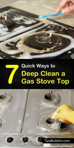 Find out how you can clean your gas stove top burners and grates with easy diy cleaning recipes. Using simple household ingredients like white vinegar and baking soda, you can quickly and cheaply clean away the grime and dirt. Clean Gas Stove Top, Gas Stove Cleaning, Clean Stove Burners, Gas Stove Burner, Kitchen Cleaning, Kitchen Tips, Grill Cleaning, Toilet Cleaning, Kitchen Cabinets