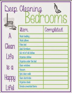 Deep Cleaning The Bedroom Checklist. This free printable will save you time and help you to quickly clean the bedrooms in your home. Deep Cleaning Checklist, Deep Cleaning Tips, Cleaning Hacks, Cleaning Schedules, Speed Cleaning, Cleaning My Room, House Cleaning Tips, Spring Cleaning, Bedroom Cleaning Tips