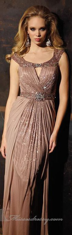 Scoop Neckline Long Evening Gown by Terani