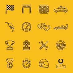 Race flag and line racing icons by Microvector on Creative Market
