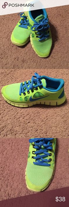 Kids Nike free runs. Neon green and blue nike free runs. Size 3.5. Have a few dirty spots but can be cleaned easy. Have only worn a few times. Nike Shoes Athletic Shoes