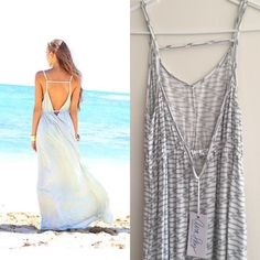 Ava Sky dress moondance NWT Amazing maxi dress in grey ladder print.  It has adjustable straps and an open back. This brand is super popular in Hawaii and this dress isn't available anymore! It's new with tags and in perfect condition. Ava Sky Dresses Maxi