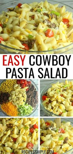 This Easy Cowboy Pasta Salad Is Full Of Flavor With Bacon, Ground Beef, Cheese, Worcestershire Sauce And Hot Sauce Via Judyjwilson Pasta Salad Recipes, Meat Recipes, Cooking Recipes, Hamburger Recipes, Spinach Recipes, Casserole Recipes, Cooking Tips, Recipies, Healthy Recipes