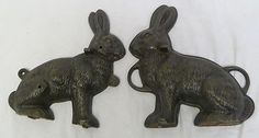 GENUINE VINTAGE GRISWOLD CAST IRON 2-PIECE RABBIT CAKE MOLD 862 863 BUNNY ANIMAL
