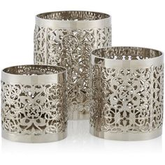 Set Of 3 Oriana Tealight Holders ($17) ❤ liked on Polyvore featuring home, home decor, candles & candleholders, candles, decor, filler and set of 3 candles