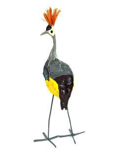 fe9d79794ac5 Crowned Crane African Art Seedpod Bird