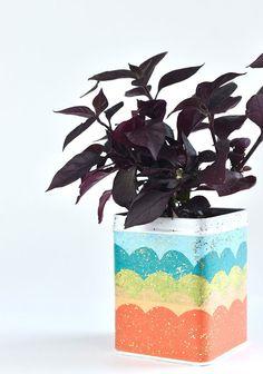 Handmade Charlotte createdMermaid Scales Mod Podge Plant Tin with Mod Podge!