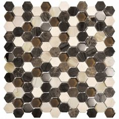 1x1 Hexagon Living Brown Glass and Marble Mosaic Tile #hexagon_brown_marble_tile #glass_marble_tile