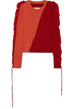 MAISON MARTIN MARGIELA CROCHET-TRIMMED TWO-TONE WOOL SWEATER. #maisonmartinmargiela #cloth #