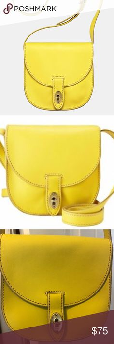 Fossil Austin Leather Small Crossbody Messenger NEVER BEFORE USED Citrus Yellow Crossbody Bag looking for a new owner. I received this beautiful, nicely stitched bag as a graduation present, but unfortunately is just not my color. Quality leather and in perfect condition. I would love to take the profits from this to get one that IS my color!! Fossil Bags Crossbody Bags
