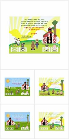 #Barnyard farm animal kids #birthday #invitations