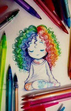 Alternate Me! The post Alternate Me! appeared first on Brenda Miller Fushion . Girl Drawing Sketches, Girly Drawings, Cool Art Drawings, Pencil Art Drawings, Colorful Drawings, Easy Drawings, Simple Tumblr Drawings, Disney Drawings, Dibujos Zentangle Art