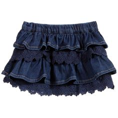 Baby girls dark blue denim ruffle skirt by Mayoral Chic. Made in soft cotton denim, this skater style has embroidered lace trims and an adjustable waist.