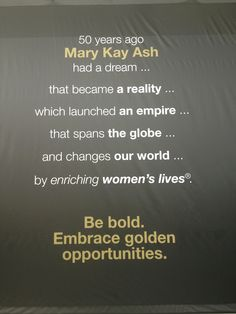 Yes she did! Thank you Mary Kay Ash for never giving up on your dream!  http://www.marykay.com/djackson26