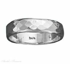 Sterling Silver Hammered Band Ring 5mm Auntie's Treasures. $45.11
