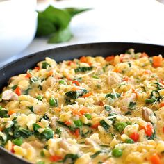 One Pot Chicken, Vegetable and Parmesan Orzo (Risoni), a complete meal on the table in 15 minutes.