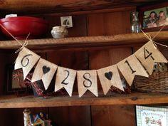 Save the Date Burlap Bunting, Wedding Decor, Photo Prop, Wedding Bunting, Burlap Bunting, Pennant, Garland