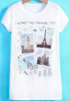 White Short Sleeve Letters Building Print T-Shirt - Sheinside.com