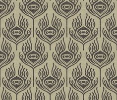 burlap_peacock_feather wallpaper by holli_zollinger for sale on Spoonflower - custom wallpaper