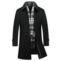fbfa6a04882 Wool Detachable Scarf Mid Long Trench Coats Business Casual Stylish Coat  Slim Fit Jacket for Men is fashion, see other designzer wool blend coat on  NewChic.