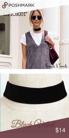 Black Velvet Choker Right on trend black vervet choker. The must have accessory this season. Dress it up and pair with dress for date night or wear casual with a casual look. Great go to accessory. Threads & Trends Jewelry Necklaces
