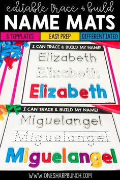 Name Practice Trace & Build Mats Editable 1st Grade Activities, Pre K Activities, Reading Activities, Preschool Names, Preschool Writing, Teaching Tools, Teaching Resources, Classroom Resources, Kindergarten Readiness