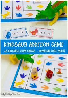 You child is sure to love this Printable Dinosaur Addition Game! Includes 48 editable addition cards & examples to use it to practice Common Core Math Sums. Math Board Games, Math Boards, Fun Math Games, Board Games For Kids, Dice Games, Learning Games, Early Learning, Kindergarten Math Games, Math Activities For Kids