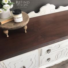 """""""This gorgeous 1920's buffet has been hand-painted in Miss Mustard Seed's Farmhouse White, and the top has been stripped down and stained with General Finishes Medium Brown Water Based Dye Stain which provides the richest, most beautiful color while maximizing the grain clarity."""" - ReFind Design by Coco Clare  You can achieve this bright and clear white by also using General Finishes Snow White Milk Paint."""