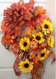 Fall Wreath, Mesh Wreath, Autumn, Sunflowers on Etsy, $95.00