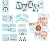 DIY Printable Shark Theme Birthday Party Package