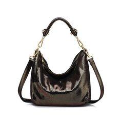 Disco Vibes Genuine Leather Serpentine Pattern Bag