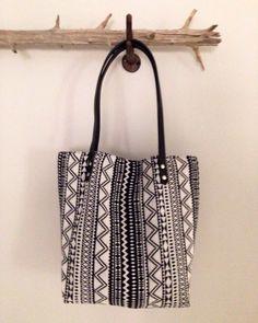 Black & White Boho Soft Tote Bag