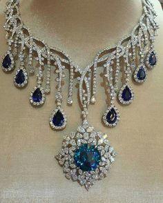 Diamond Necklaces : Sapphire and Diamond Necklace