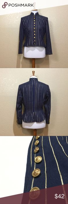 """LRL Ralph Lauren Nautical Striped Linen Blazer Lauren Ralph Lauren Nautical Themed Linen Blazer. Size 4. Features a Mandarin collar, thin gold foil stripes, and functional large gold tone buttons emblazoned with anchors. Fully lined. GUC. No stains or tears. A few places to back of Blazer where there are """"bumps"""" to fabric, may just be Linen texture. Not noticeable unless inspecting closely. In places gold of stripes has faded. Shell: 100% Linen; Lining: 100% Acetate. Length: 19 3/4""""; Sleeve…"""