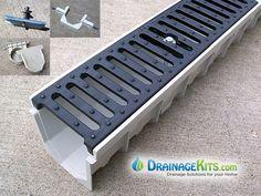 Mearin 100 Driveway Drainage Kit w/Ductile Iron grate Drainage Grates, Gutter Drainage, Backyard Drainage, Landscape Drainage, Drainage Ditch, Driveway Drain, Diy Driveway, Driveway Landscaping, Landscaping Design