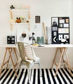 Cute small home office. Love the black and white decor. So simple but chic.
