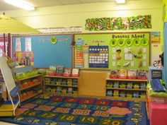 Idea for Classroom Setup - Whole Group Area/Library. Love the Monkey Mischief Welcome Banner by TREND.