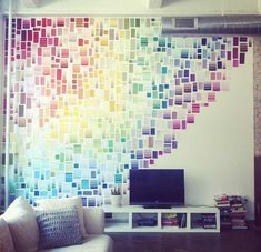 Celebrate your dorm room - with paint swatches! Create a rainbow effect like Liz Apple's rainbow wall of paint chips or use paint swatches to create waves or patterns of color too! What a great way to liven up a room and make it your own! Weekend Projects, Home Projects, Craft Projects, Sewing Projects, Diy Casa, Paint Swatches, Color Swatches, Paint Swatch Art, Pantone Swatches