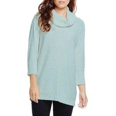 Two by Vince Camuto Exposed Seam Cowl Neck Pullover ($89) ❤ liked on Polyvore featuring tops, sweaters, chalk blue, blue pullover sweater, cotton sweater, 3/4 sleeve tops, cotton pullovers and cowlneck sweater