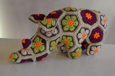 Handmade Thandi the African Flower Rhino heidibears door PulpFixed