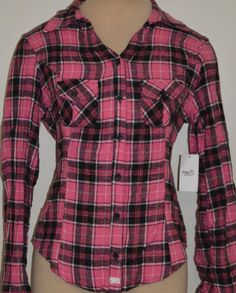 77a4f933 Ladies Derek Heart Pink Plaid Button Front Flannel Shirt Top Juniors Sizes  S, M #