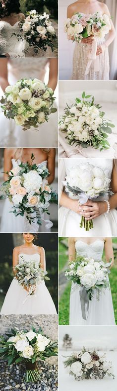 neutral wedding bouquet ideas for 2018 trends
