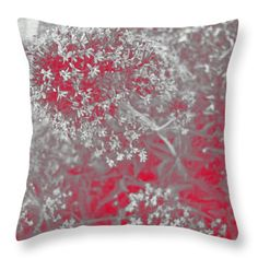 All Throw Pillows - Flowers in Red Throw Pillow by Lovina Wright