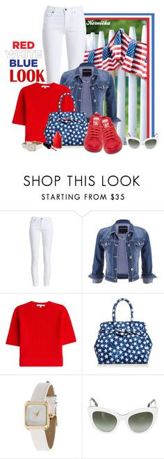 """nr 1445 / Red, White & Blue: Celebrate the 4th!"" by kornitka ❤ liked on Polyvore featuring Barbour, maurices, Carven, Save My Bag, Miss Selfridge, Dolce&Gabbana, fourthofjuly and redwhiteblue"