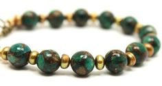 10mm Green Mosaic Quartz, Brown Pearls and Antique Gold Clasp Bracelet